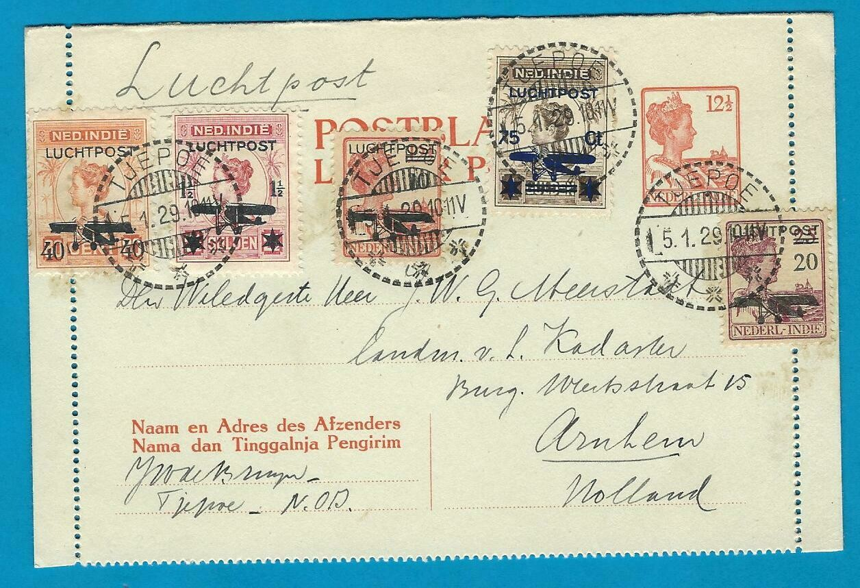 NETHERLANDS EAST INDIES letter card 1929 Tjepoe by air