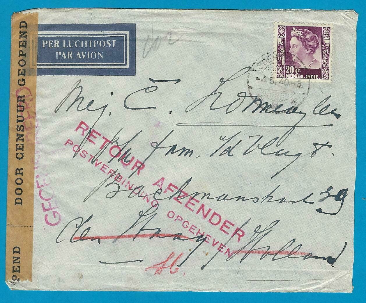 NETHERLANDS EAST INDIES air cover 1940 Soerabaja service suspended