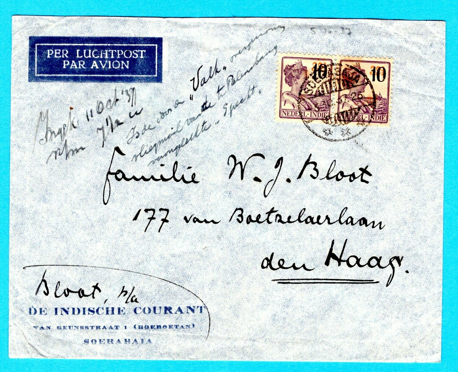 NETHERLANDS EAST INDIES air cover 1937 from crash plane Specht