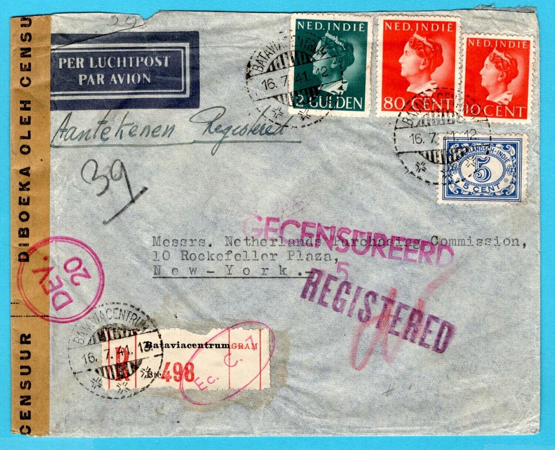 NETHERLANDS EAST INDIES censor R cover 1941 Batavia to USA