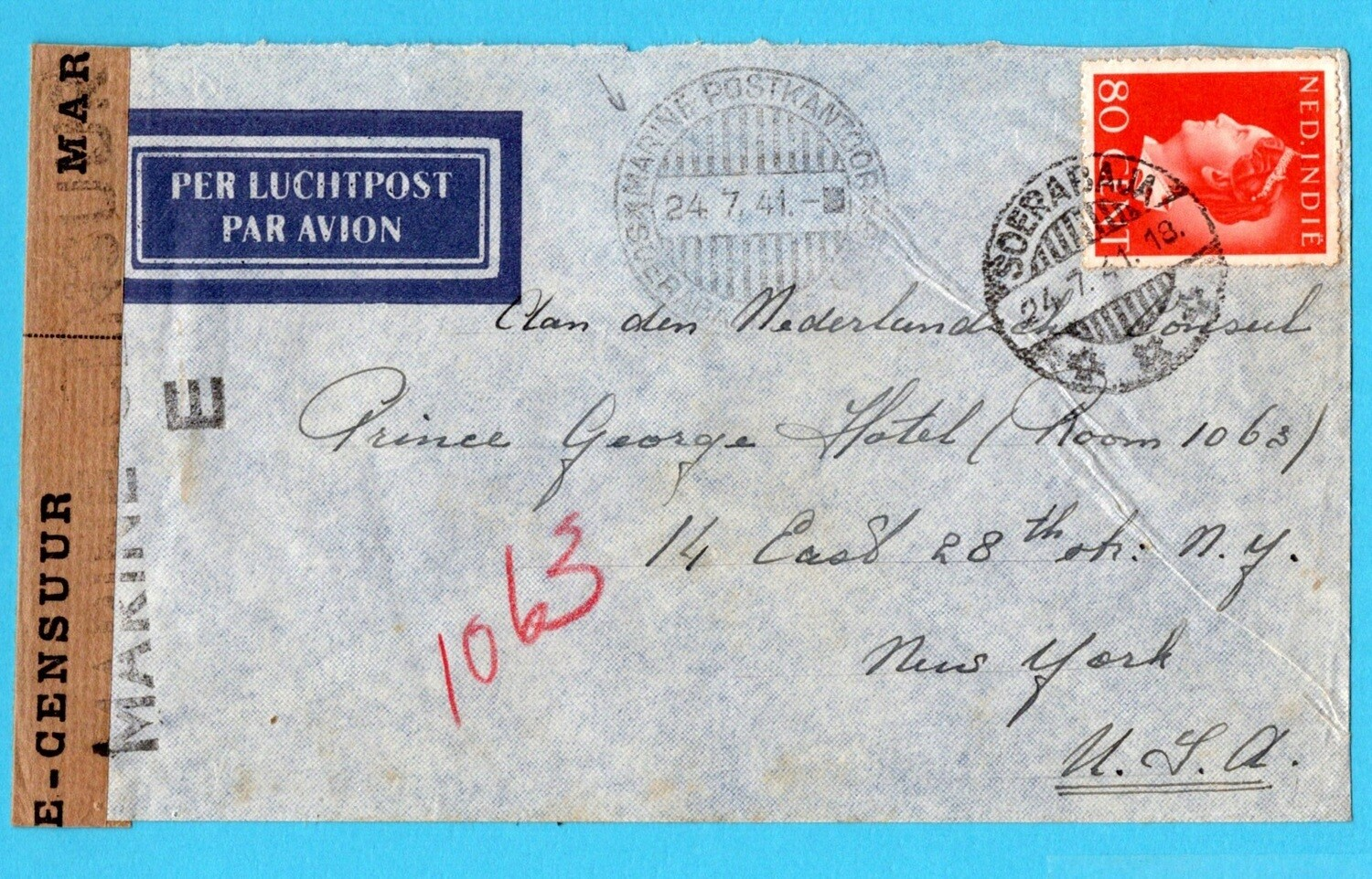 NETHERLANDS EAST INDIES censor air cover 1941 Marine post office