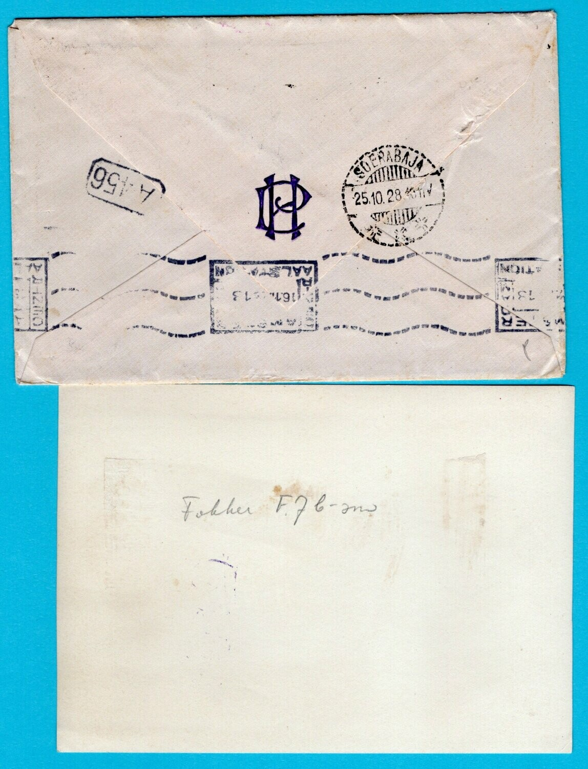 NETHERLANDS EAST INDIES air cover 1928 Bandjer Masin