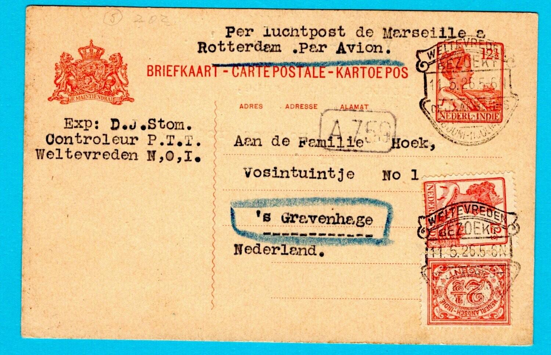 NETHERLANDS EAST INDIES air postal card 1926 Weltevreden