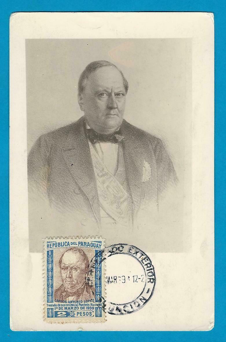 PARAGUAY maximum card 1939 Carlos Antonio Lopez
