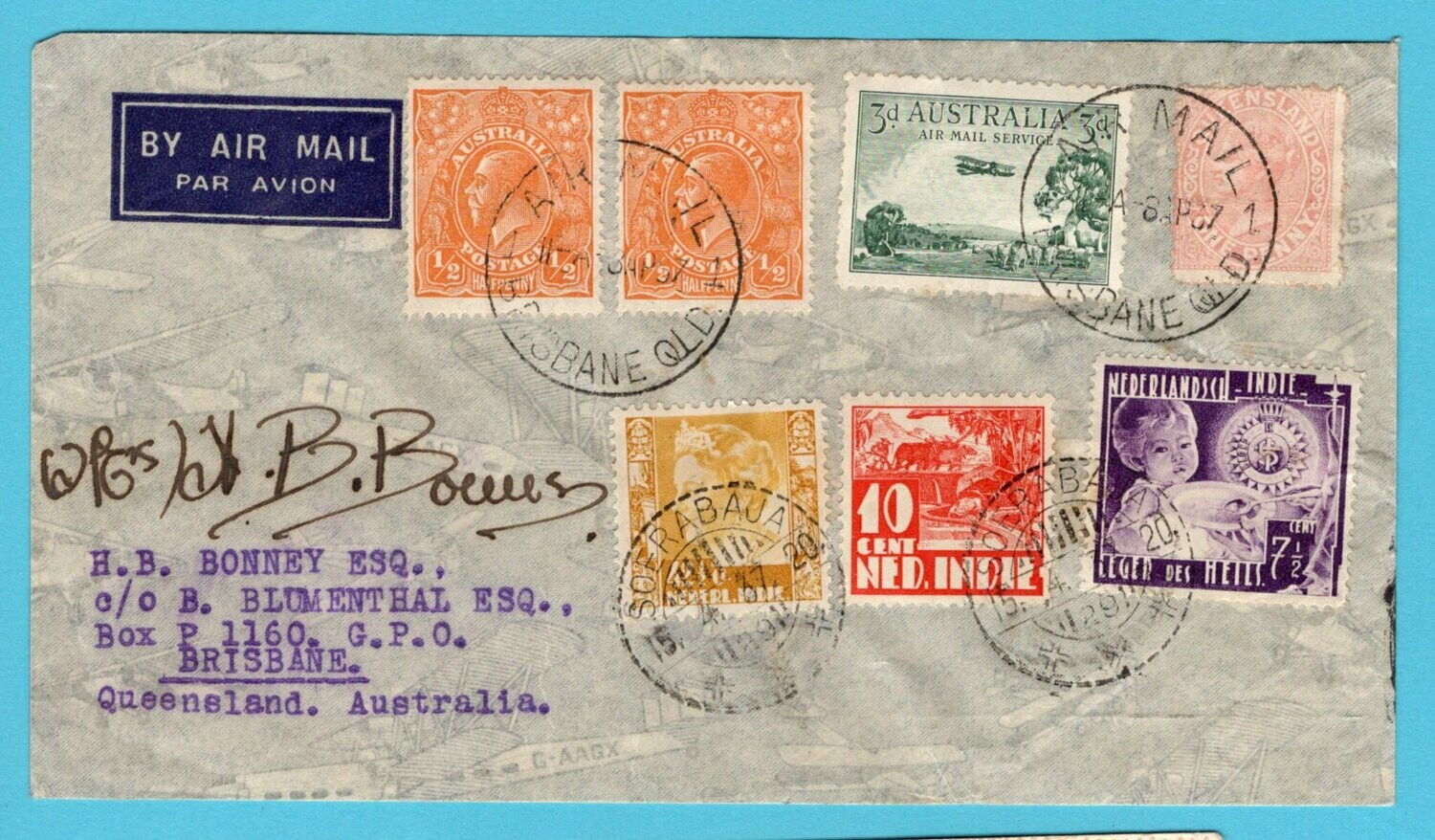 NETHERLANDS EAST INDIES air cover 1937 flown by Lores Bonney