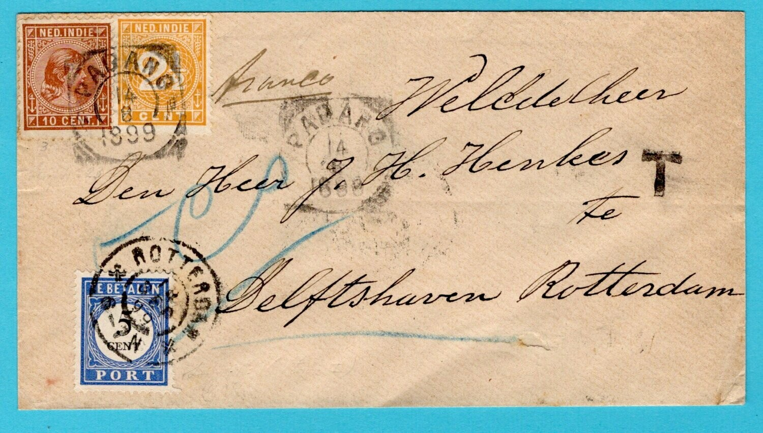 NETHERLANDS EAST INDIES cover 1899 Padang with due Netherlands