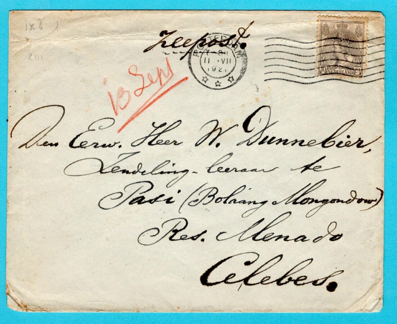NEDERLAND brief 1921 Rotterdam naar Kotamobagoe Indië