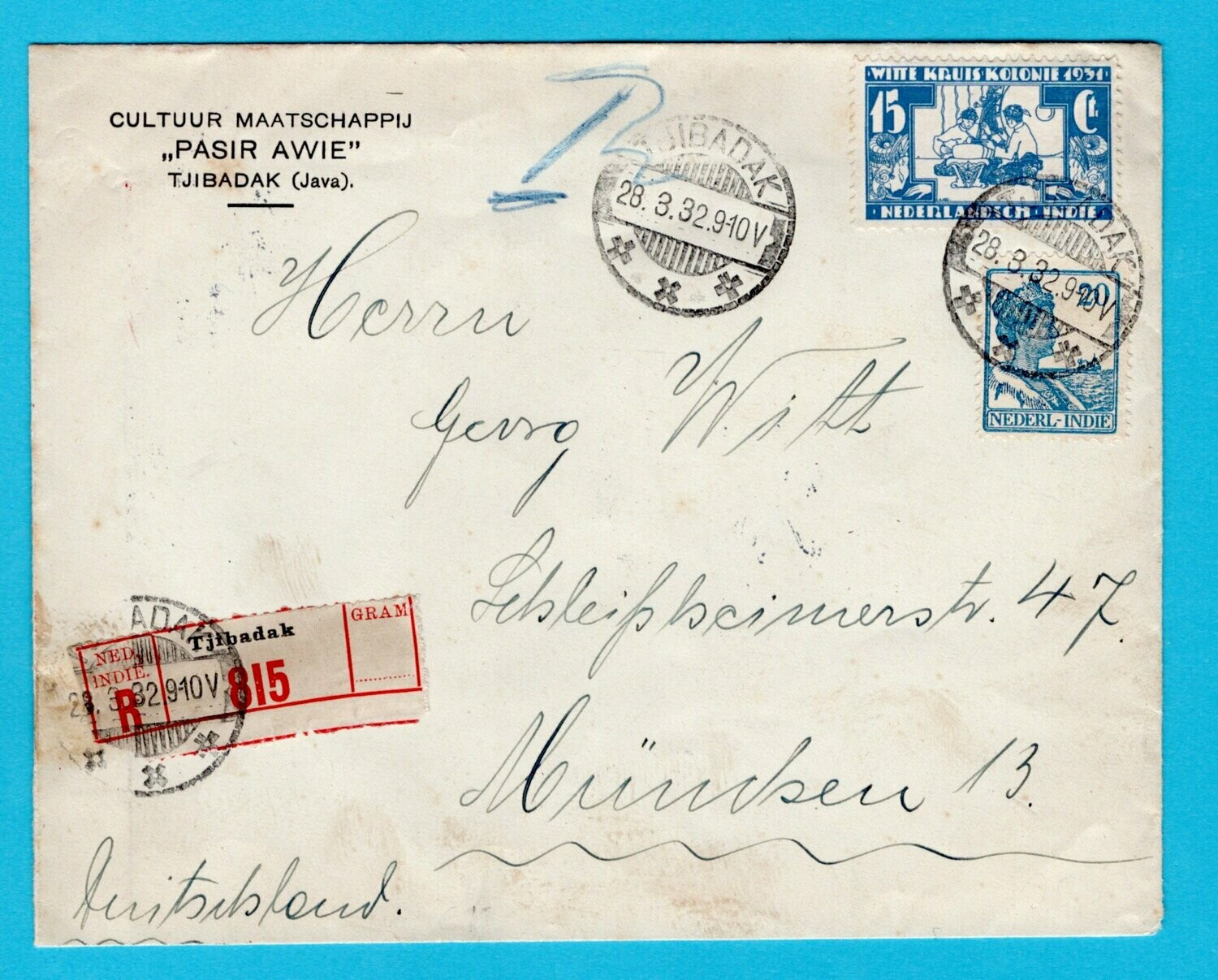NETHERLANDS EAST INDIES R cover 1932 Tjibadak to Germany