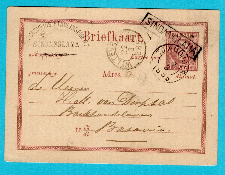 NETHERLANDS EAST INDIES postal card 1885 Sindanglaija line cancel
