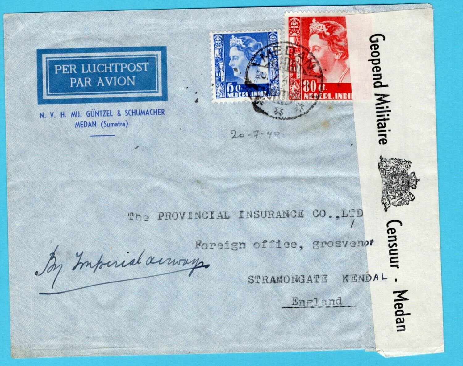 NETHERLANDS EAST INDIES censor air cover 1940 Medan