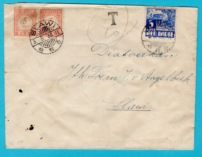 NETHERLANDS EAST INDIES cover 1938 Klampok with due Slawi