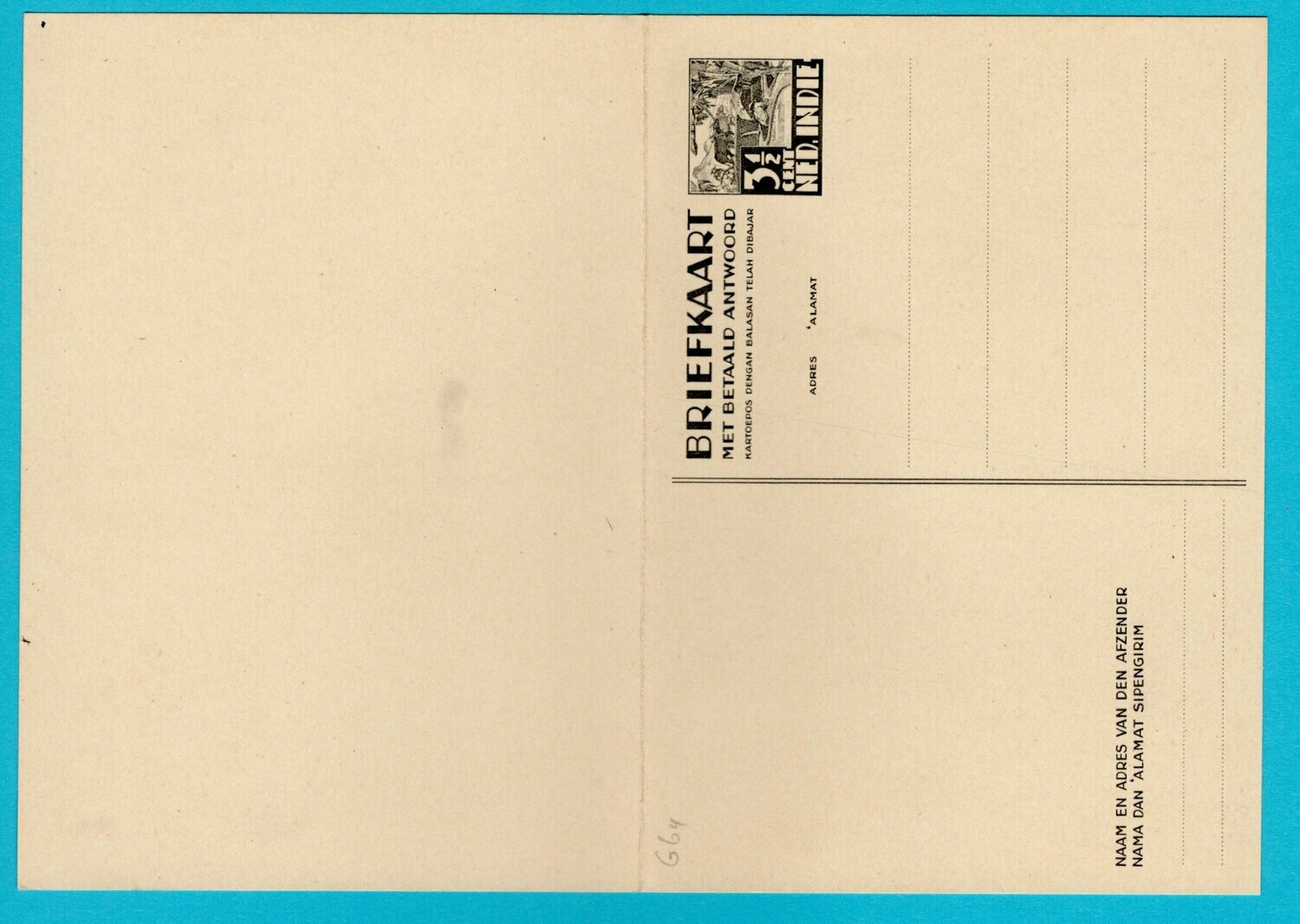 NETHERLANDS EAST INDIES postal card 3,5ct with paid reply *