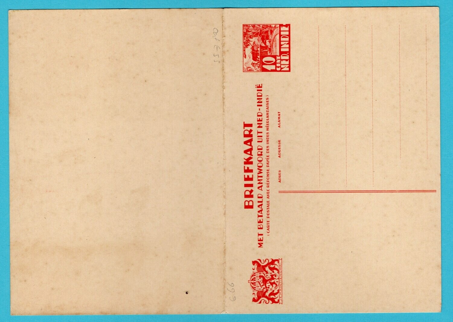NETHERLANDS EAST INDIES postal card 10ct with paid reply *