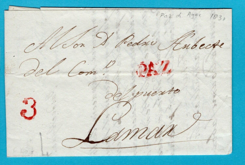 PERU entire 1831 PAZ de Ayac. to Lamaz