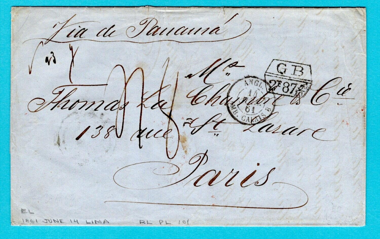 PERU entire 1861 Lima by British packet to France