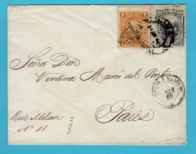 PERU cover 1885 Lima to France