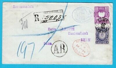 PERU postal AR envelope 1894 Lima to Switzerland