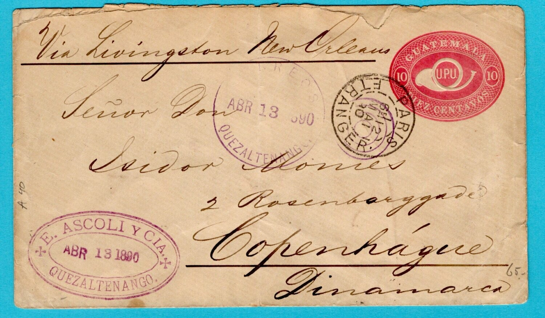 GUATEMALA postal envelope 1890 Quezaltenango to Denmark