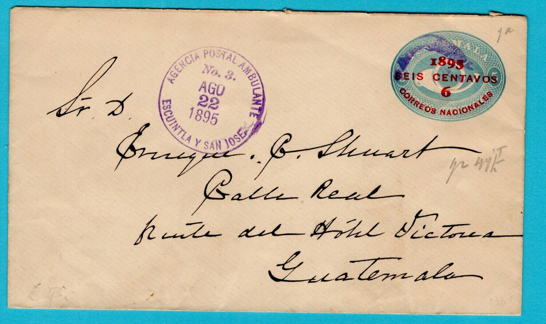 GUATEMALA envelope 1895 Ambulancia Escuintla y San Jose