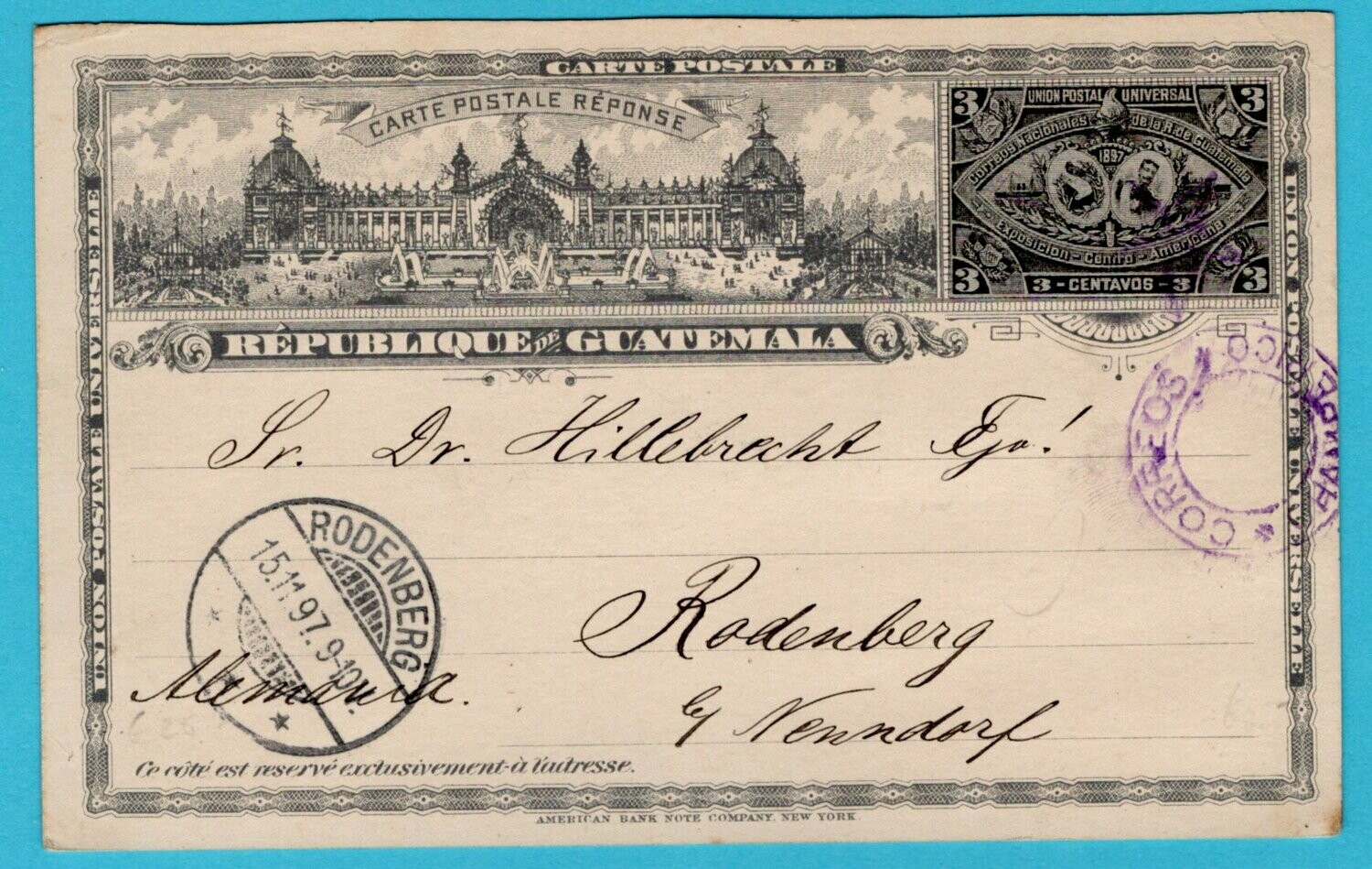 GUATEMALA postal card 1897 Champerico to Germany