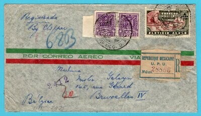 MEXICO censored R clipper cover 1941 Mexico to Belgium