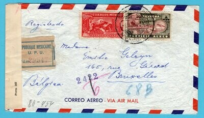 MEXICO R censor Clipper cover 1941 Mexico to Belgium