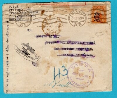 MEXICO  censor cover 1915 Guadelupe to San Bartolo and returned