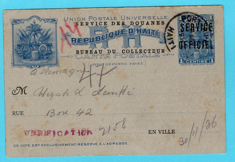 HAITI postal card 1936 Port au Prince Service de douanes