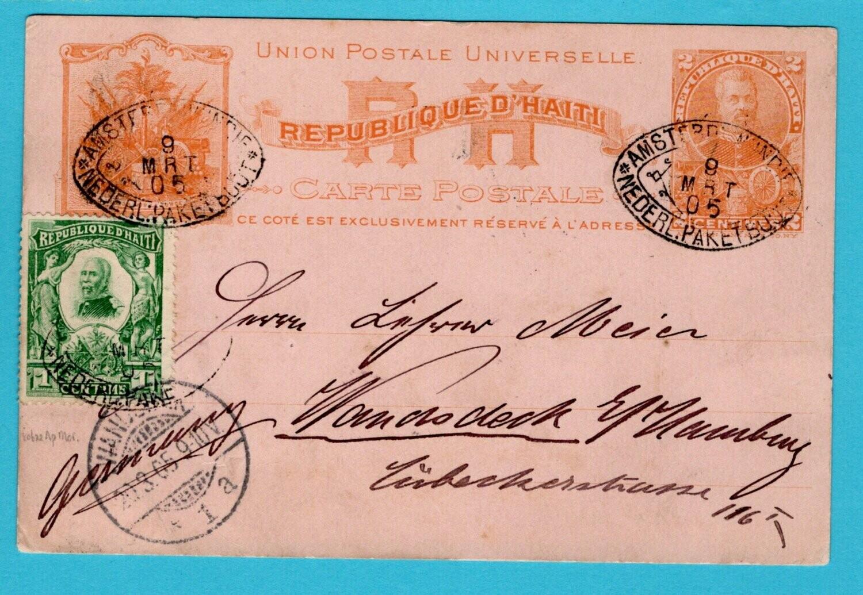 HAITI postal card 1905 Netherlands Packet W:Indies cancel