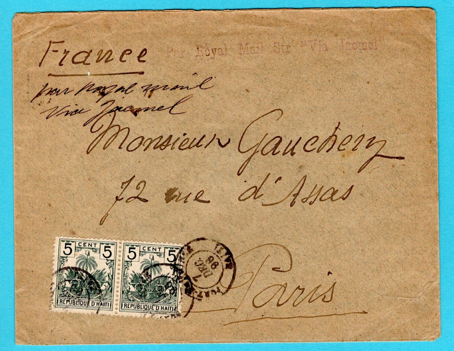 HAITI cover 1896 Port au Prince to France