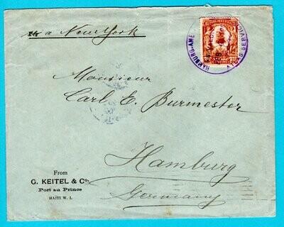 HAITI ship cover 1906 S.S. Valdivia Hamburg America line