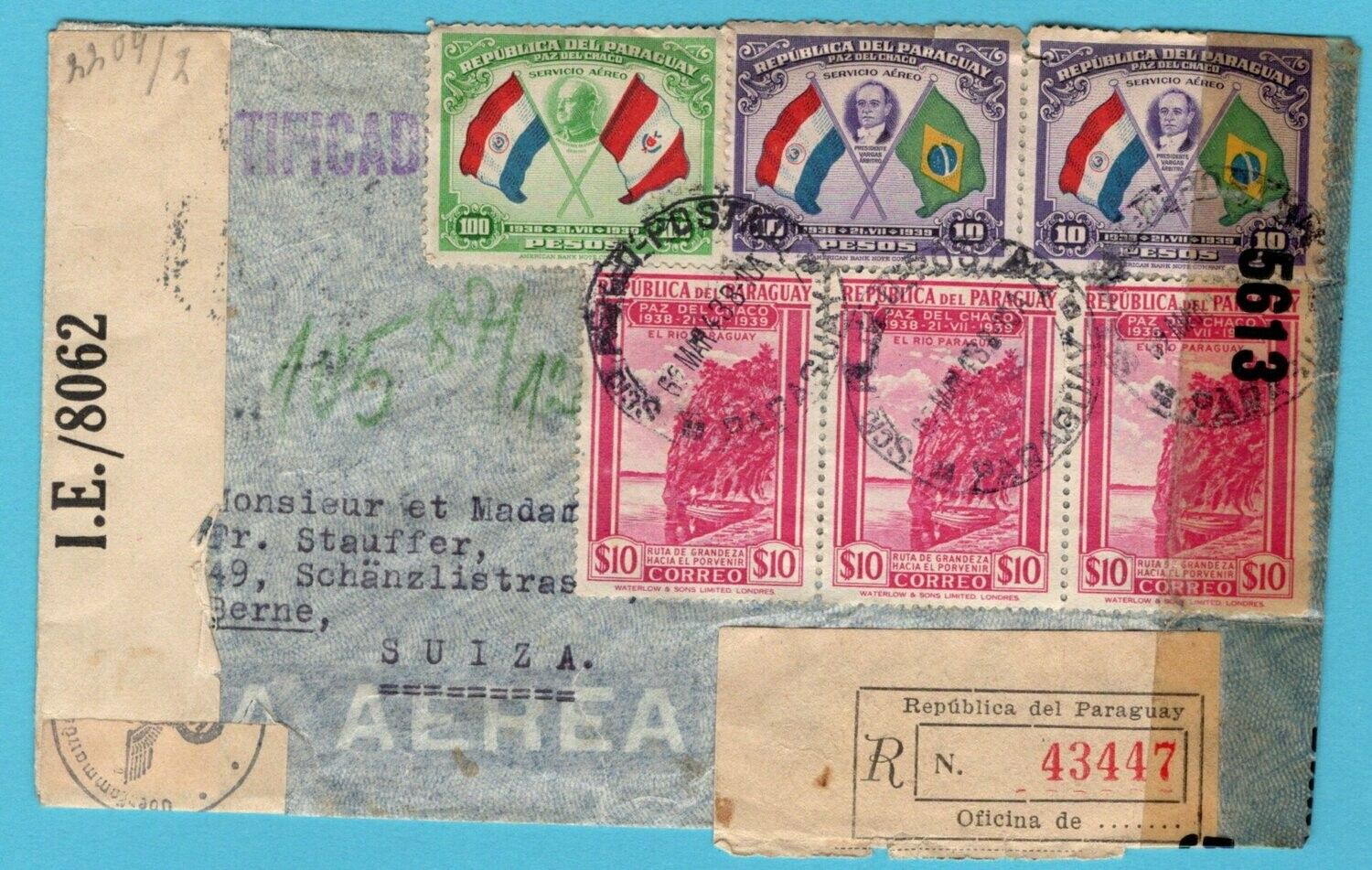 PARAGUAY R censor air cover 1943 Asuncion to Switzerland