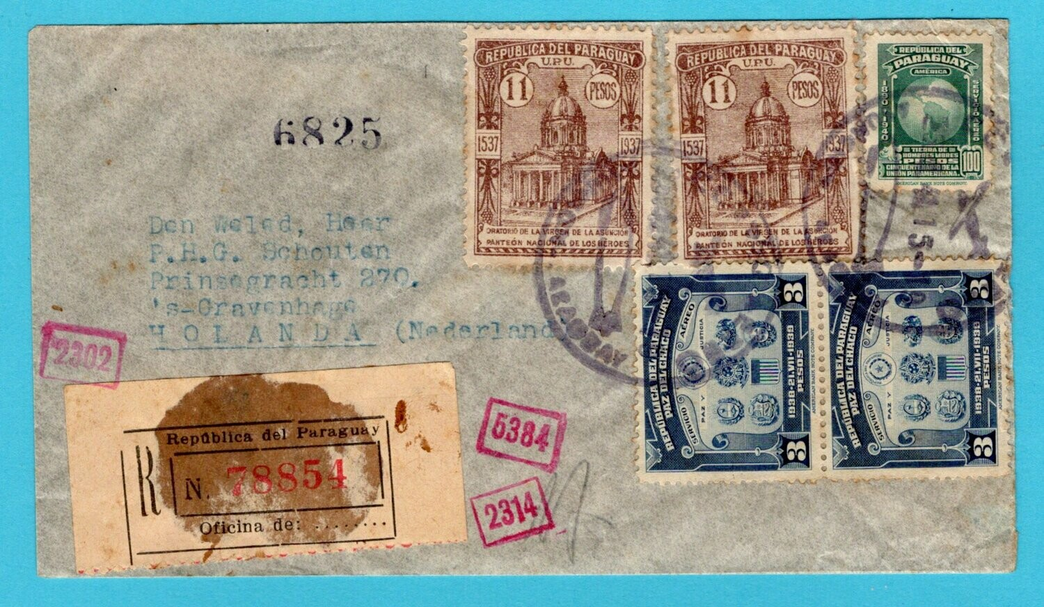 PARAGUAY R air censor cover 1941 Asuncion by LATI to Netherlands