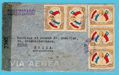 PARAGUAY R censor air cover 1944 Asuncion to Switzerland