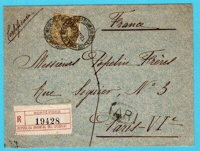 URUGUAY AR cover 1905 Montevideo to France