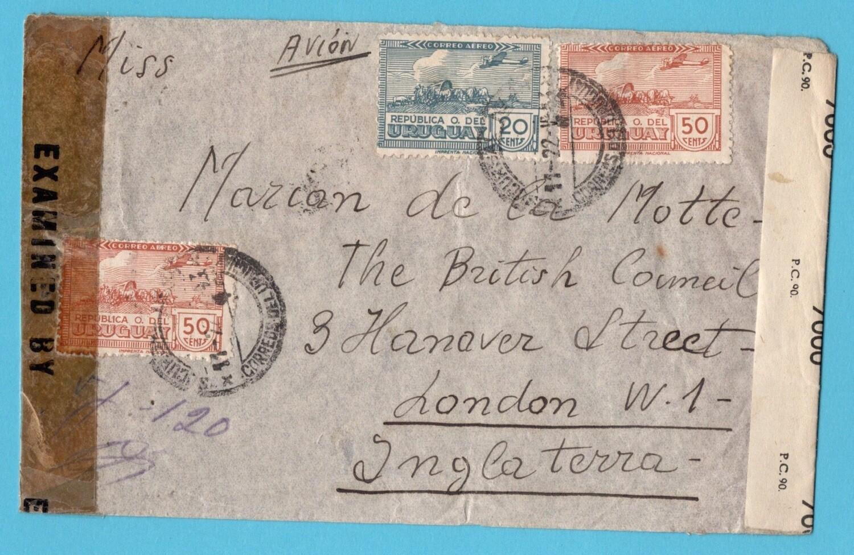 URUGUAY air censor cover 1943 Montevideo to England