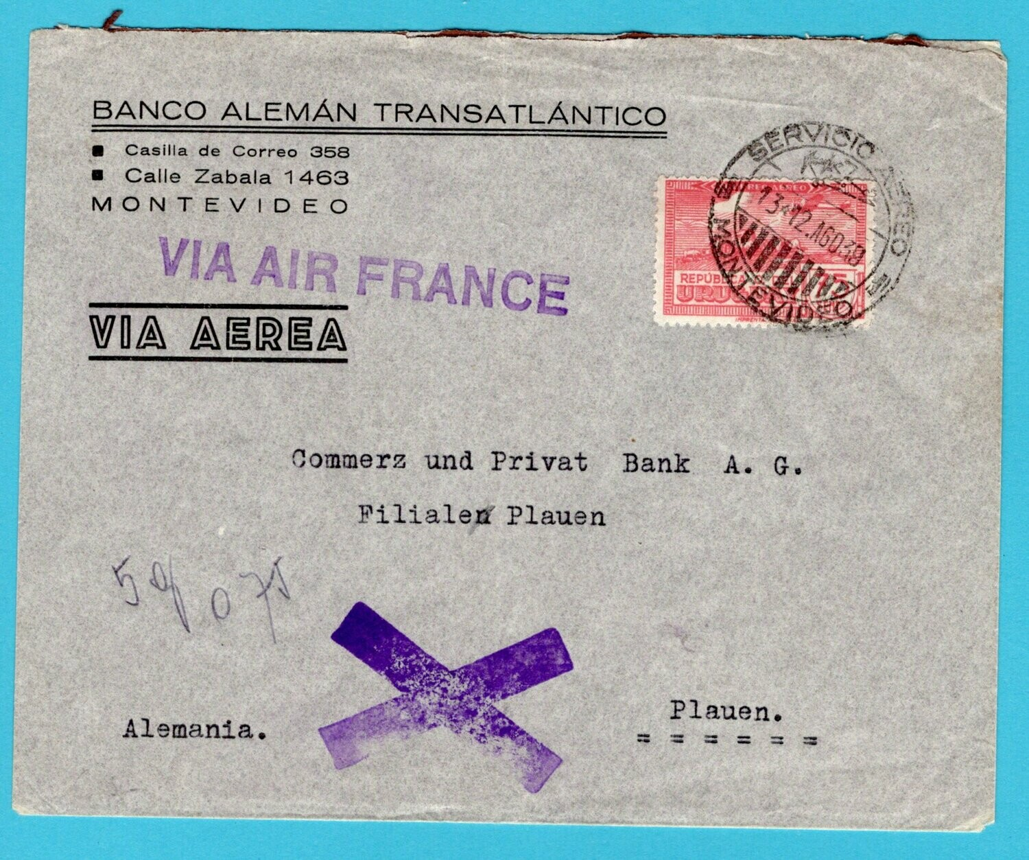 URUGUAY air France cover 1939 Montevideo to Germany
