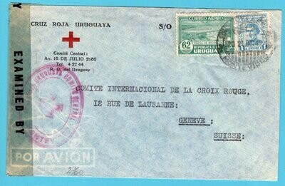 URUGUAY Red Cross air censor cover 1942 Montevideo to Switzerland