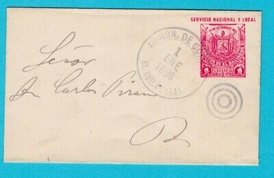 EL SALVADOR postal envelope 1898 El Chimalatel