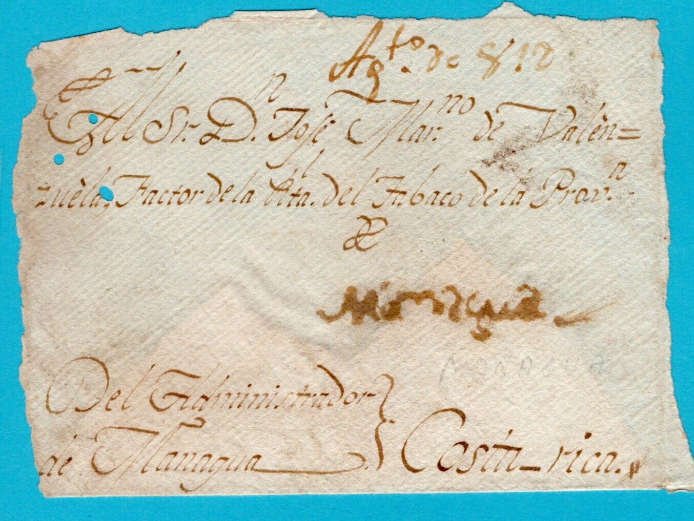 NICARAGUA front of cover 1812 Managua to Costa Rica