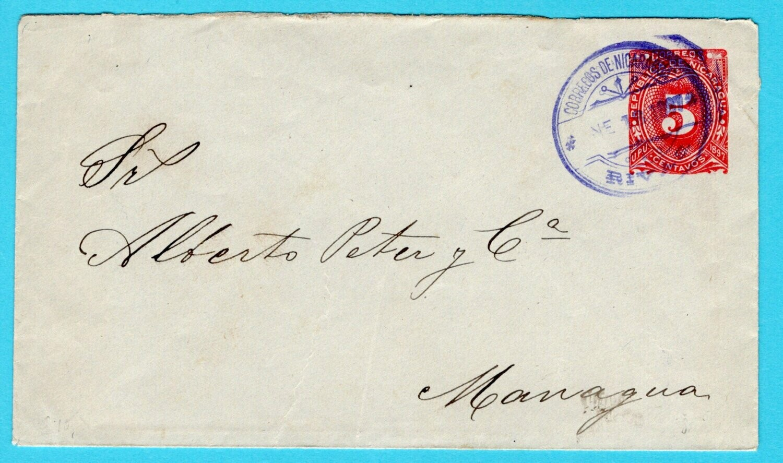 NICARAGUA envelope 1897 Rivas to Managua