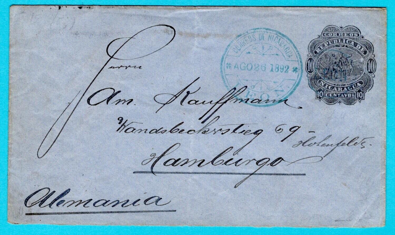 NICARAGUA envelope 1892 Leon to Germany