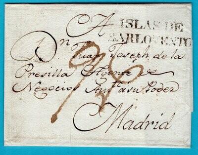 CUBA cover sheet 1789 (?) Islas de Barlovento