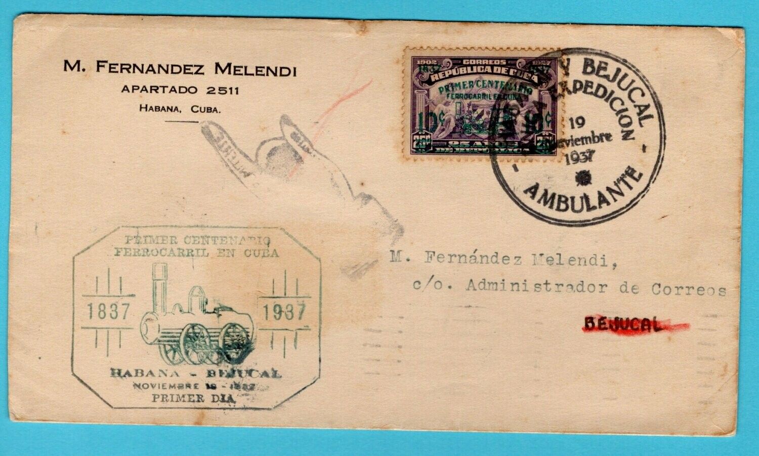 CUBA cover 1937 Ambulante Habana y Bejucal