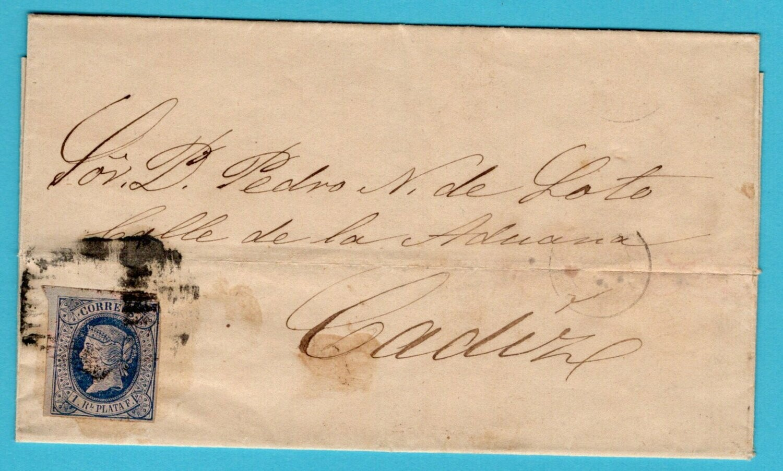 CUBA cover sheet 1865 Habana to Cadiz