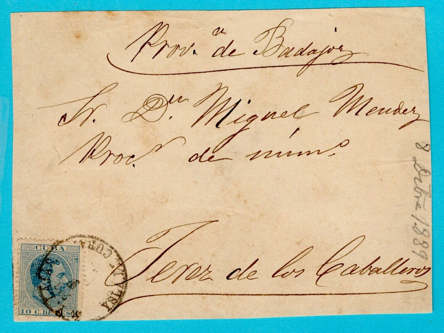 CUBA front of a cover 1889 Cruces y Lajas