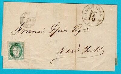 CUBA cover sheet 1870 Santiago de Cuba to USA