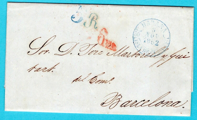 CUBA entire 1852 Habana to Spain