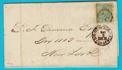 CUBA entire 1875 Habana to USA