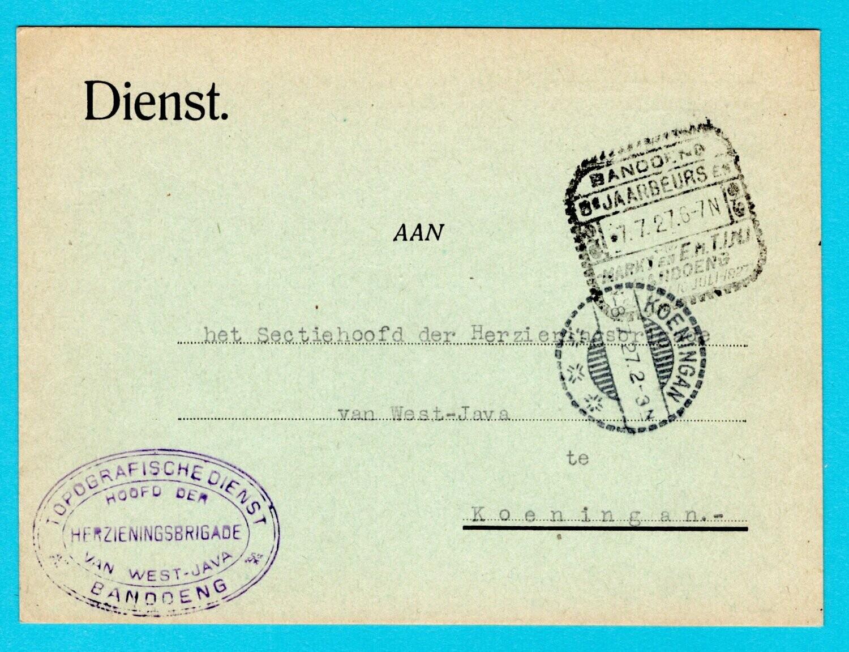 NETHERLANDS EAST INDIES official card 1927 Bandoeng fair slogan